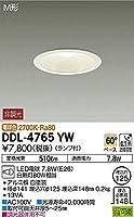 DAIKO LEDベースダウンライト M形 非調光タイプ 白熱灯80Wタイプ 電球色 7.8W 口金E26 ランプ付 埋込穴φ125 DDL-4765YW