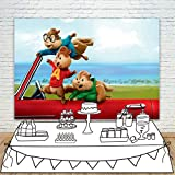 赤い車 アルビンとチップマンクス 漫画の背景 7x5フィート ビニール写真背景 テーブルトップ バナー カスタマイズ写真スタジオ背景 小道具