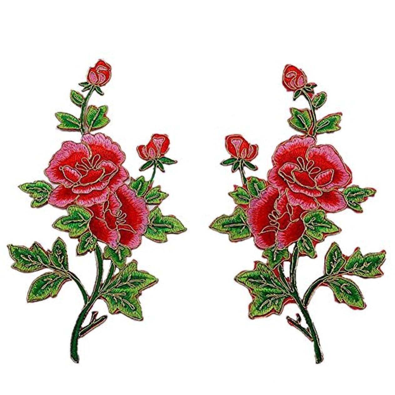 もっと社会学困惑2枚 牡丹 薔薇の花 金のトリミング 刺繍アイロンアップリケワッペン (Red) [並行輸入品]