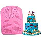 Ialwiyo Marine Theme Silicone Cake Fondant Mold, Ocean Animal Fish/Seaweed/Coral Soap Mold for Bath Bomb Jelly Mousse Candy C