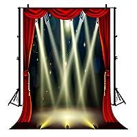 7X 5ftレッドカーテンブロードウェイステージ照明パーティーウェディングパーティー壁写真撮影ポリエステル背景写真撮影プロップStudio写真ブース小道具
