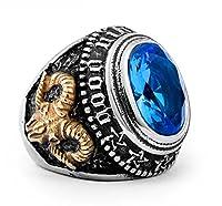 PW 精良SUS316L製 青黒CZ 山羊の悪魔 五芒星 プロビデンスの目 フリーメイソン 指輪 【ラッピング対応】