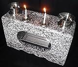 花立 香炉 墓石用花立 一体型白みかげ石(ロウソク立付)