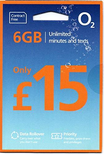 「O2 」O2 イギリス他ヨーロッパ各国対応 プリペイドSIM (30日間 6GB 1000分無料通話)