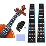 Violin Finger Guide and Rubber Mute Pack, 4/4 Violin Notes Sticker Full Size Guide, Violin Label Chart Plus Rubber Mute for B