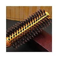 Foretion ナイロン専門の櫛が付いている毛のブラシの円形の打撃の乾燥した性質の剛毛 (サイズ : M)
