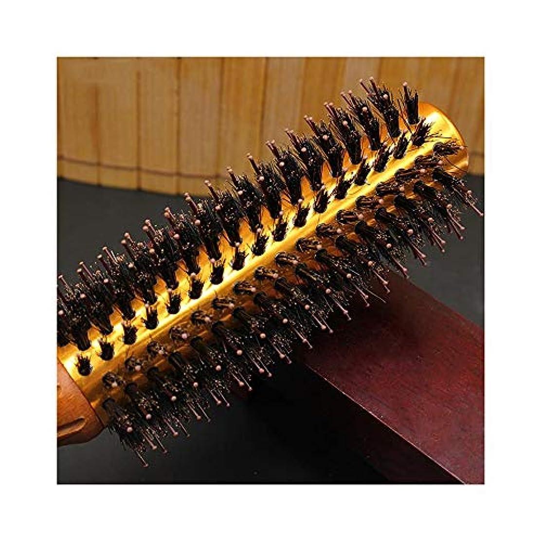 前部緩む上回るWASAIO ヘアブラシブラシラウンドブロー乾燥自然毛スタイリング用ナイロンプロくし (サイズ : L)