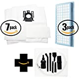 14交換Miele s434i真空バッグ、14マイクロフィルター& 3 HEPAフィルタ7ピースマイクロ真空アタッチメントキット – 互換性Miele Type GNバッグ、Micro Filters & sf-ah 30、sf-ha 30 , ah30フィルタ