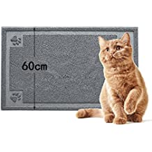 Cat Litter Mat, Fabselection 90 x 60cm Traps Litter from Box, Best Scatter Control Easy to Clean, Soft on Paws Cat Tray Mat Grey