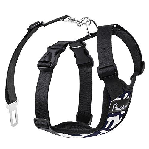 犬用ハーネス - Pawaboo シートベルト付き 車用 犬用ハーネス リード ナイロン製 小中大型犬に向け 通気性 調節可能 55 lb- 88 lb対応 XLサイズ Navy BLUE & WHITE