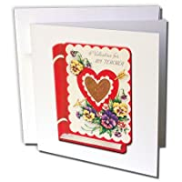 BLN Victorianバレンタインカード複製品 – Victorian Valentine for My Teacher Book with Pansies – グリーティングカード Set of 6 Greeting Cards