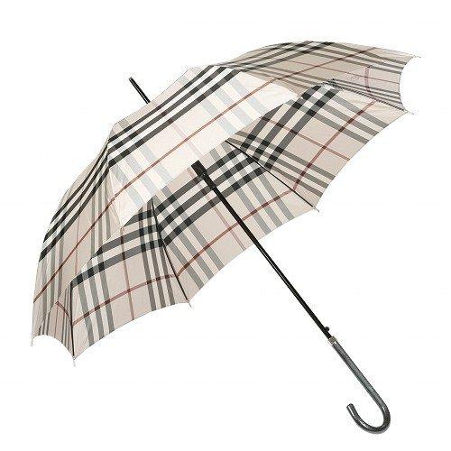 【BURBERRY】バーバリー 日本製 カバー付きノバチェックデザイン婦人長傘(雨傘) ベージュ