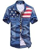 【Smile LaLa】 メンズ 半袖 ポロシャツ 襟付き アメリカ 星条旗 国旗 デニム ボタンダウン 前ボタン カジュアル ブラウス 男性 (XL, ディープブルー)