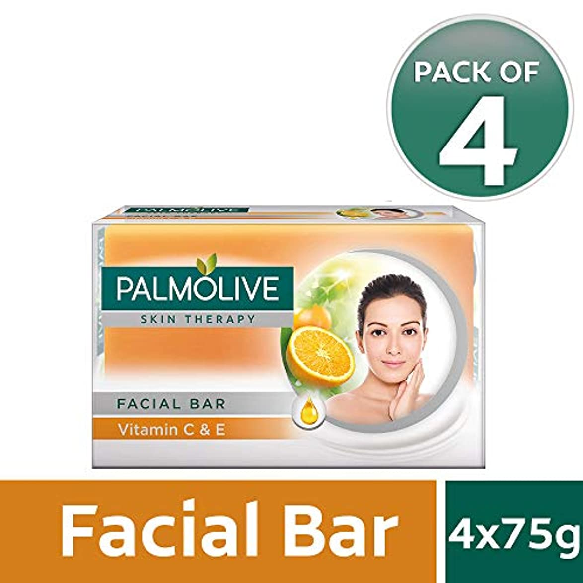 薄い穀物薄いPalmolive Skin Therapy Facial Bar Soap with Vitamin C and E - 75g (Pack of 4)