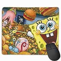 Qrwlkj スポンジボブ Spongebob SPONGE BOB マウスパッド 多用途の 耐久性が良い ゲーム オフィス用滑り止めラバー厚手マット 25X30X0.3Cm