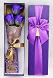 ソープフラワー メッセージカードセット(紫 3本)