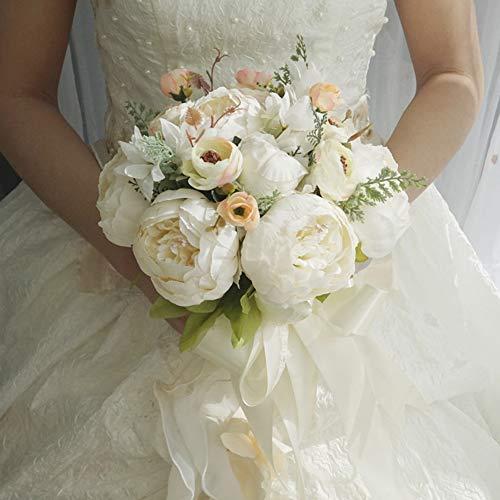 misaki ホワイト ウエディングブーケ 花嫁ブーケ 牡丹 バラ ガーデンローズ ブライダルブーケ ラウンドブーケ 花束 造花 欧米風 挙式 結婚式 パーティー ニ次会 撮影