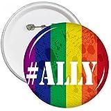 DIYthinker Ally LGBT Rainbow Pattern Round Pins Badge Button Clothing Decoration Gift 5pcs S