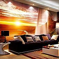 Lixiaoer カスタム3D写真の壁紙自然の風景壁画寝室のリビングルームのソファの背景設定太陽滝風景の壁紙-200X140Cm