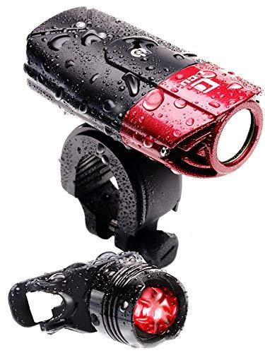 【 50メートル先まで ギラッと照らす 】 LICLI 自転車ライト 防水 USB 充電式 明るい LED ヘッドライト 前照灯 日本語説明書で簡単取り付け 「 テールライト ホルダー 付 」「 高輝度 軽量 コンパクト 」「 クロスバイク ロードバイク 自転車 」 4カラー (レッド)