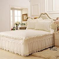 綿 ベッドスカート レース,表面の肥厚 ベッドスプレッド シート セミダブル ダブル 装飾-ホワイト 200*220cm
