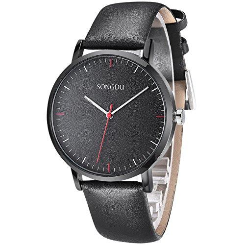 SONGDU 薄型腕時計 男女兼用 アナログ レザーバンド カジュアル JP-9205-P06EY ブラック文字盤 おしゃれ バレンタインプレゼント