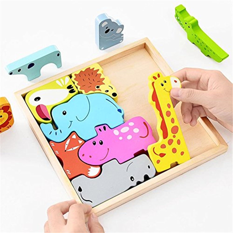 動物木製ボードパズルブロックfor preschool Baby touching Practice Lovely動物園カラフルStackingインテリジェンスゲーム玩具1 – 3年
