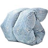 タンスのゲン ホワイトグースダウン93% 【増量1.5kg & 花粉free生地】 羽毛布団 日本製 セミダブルロング 400dp(かさ高165mm)以上 消臭抗菌 国内パワーアップ加工 CILゴールドラベル ブルー 10119203 62