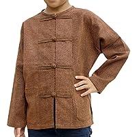 RaanPahMuang Mixed Cotton Shirt Childrens Open Collar Frog Button Long Sleeve