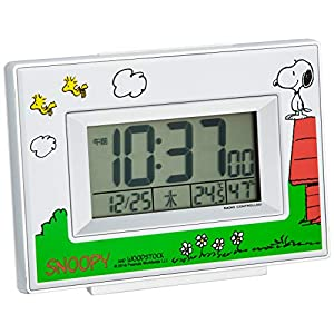 SNOOPY (スヌーピー) 目覚まし時計 キャラクター 電波 デジタル R187 温度 湿度 曜日 カレンダー 表示 白 リズム時計 8RZ187-M03