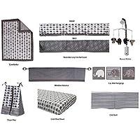 Bacati Elephants Unisex 10 Piece Nursery-In-A-Bag Crib Bedding Set with Long Rail Guard Grey [並行輸入品]
