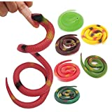5 Pack 27 inch Halloween Rubber Rainforest Snakes Coiled Prop, Snake Toys For Children, Gag toys, Prank, Prop, Gardens, Party Favors, Halloween & Decorations