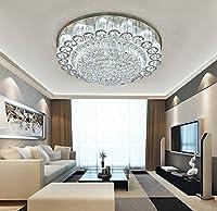 YueyangホームライティングホテルリビングルームヴィラLED 3明るさK9クリスタルミラーステンレススチールクリスタルランプLEDとリモコン付きシャンデリアシーリングライト (D50cm x H22cm)