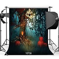 sjoloon Scary Forestハロウィンバックドロップ10x 10ftビニール写真プロップカスタマイズ写真背景スタジオ10736