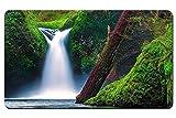 Columbia パンチボウル滝、イーグルクリーク、コロンビアリバーゴージ、オレゴン州、アメリカ、コケ パターンカスタムの マウスパッド 旅行 風景 景色 デスクマット 大 (60cmx35cm)
