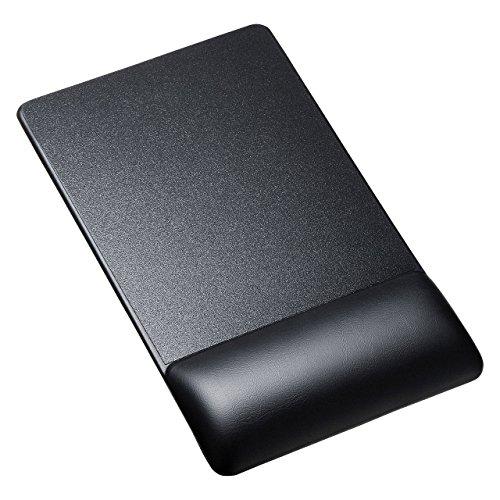 サンワサプライ リストレスト付きマウスパッド(レザー調素材高さ標準ブラック) MPD-GELPNBK 1個