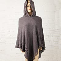 Women Knitted Hoodie Batwing Poncho Cape Sweater Ladies Outwear Wrap Coat Tops Gray One Size