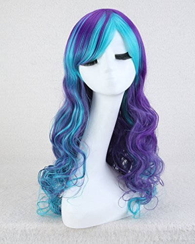 """Cool2dayR 32"""" Flower Girl's Curly Heat Resistant Hair Cosplay Party Wig- Purple Mixed Sky Blue [並行輸入品] Cool2day"""