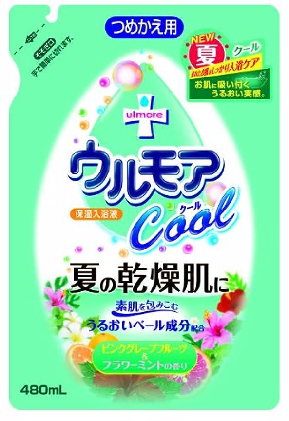 囲む結論ロードハウスアース製薬 保湿入浴液ウルモアクール 替 ピンクグレープフルーツ&フラワーミントの香り 480mL
