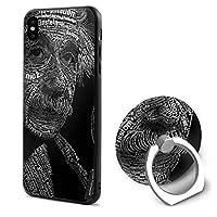 アインシュタイン Iphone X / XS携帯電話ケース360°回転ブラケットソフト耐衝撃軽量ファッションアンチスクラッチインストール分解簡単ユニセックスアップルの携帯電話シェル付きリング