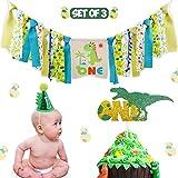 恐竜のテーマ 1歳の誕生日用デコレーションキット 3個セット 黄麻布製ハイチェアバナー - 赤ちゃん用恐竜ケーキスマッシュパーティー用品 - グリッターグリーンフェルト1歳の誕生日用帽子 - Tレックスケーキトッパー
