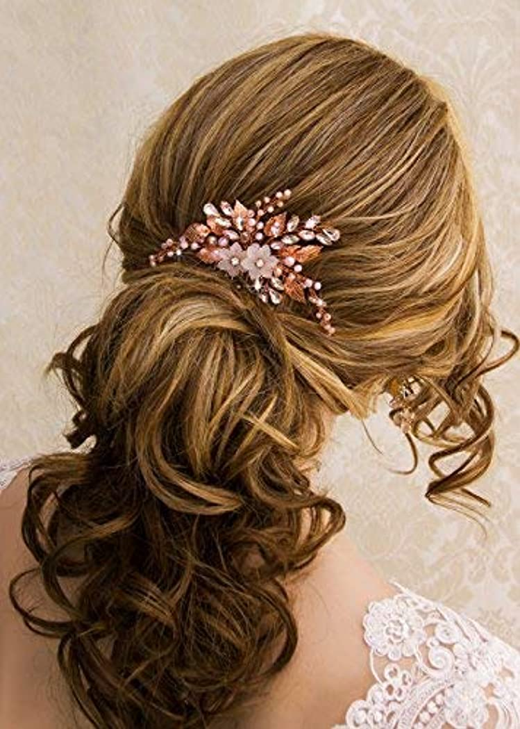 きらめく最後に最初にKercisbeauty Wedding Rose Gold Hair Comb with Pink Pearl Earrings Set for Bride Bridesmaid Headpiece Prom Hair...