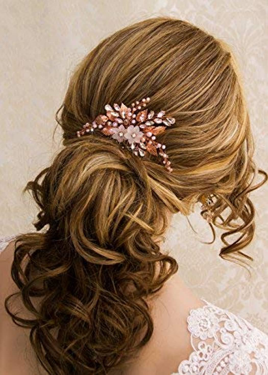 未払い子猫ダイエットKercisbeauty Wedding Rose Gold Hair Comb with Pink Pearl Earrings Set for Bride Bridesmaid Headpiece Prom Hair...
