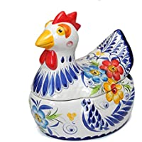 ポルトガル製 陶器製 手描き ニワトリ キャニスター 青 花柄 蓋付き 保存容器 pif-650bl pif-650bl
