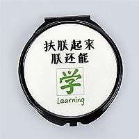 HuaQingPiJu-JP ミニラウンドポータブル学習パターンガラスミラーサークル工芸装飾化粧品アクセサリー