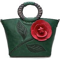f91b90029b2d [HONGJING]和風ハンドバッグ 手作り 立体バラ 復古 木彫り柄 女性鞄 レディース 軽量 手提げ