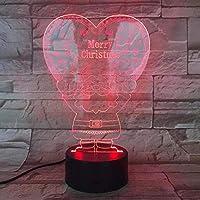 クリスマスおめでとうサンタクロース3 D効果デスクトップ台灯小夜灯寝室ライトLED家居アイデアのクリスマスプレゼント、7色タッチリモコン