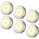 AMIR LED 人感 センサーライト キッチンライト 電池式 省エネ 自動点灯 消灯 磁石&粘着テープ付き ワイヤレス 小型 階段/廊下/玄関/トイレ 室内照明用 足元ライト 電球色 6個セット