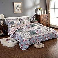 キルトベッドカバー 100% コットン3ピースパッチワークキルトセットフラワーソフトベッドカバーこたつセットキングサイズ寝具セット