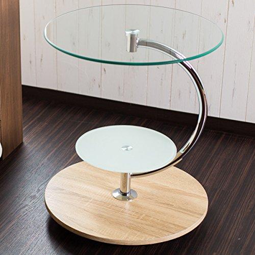 【サイドテーブル ガラス】3つの円が織りなすモダンスタイル ★...